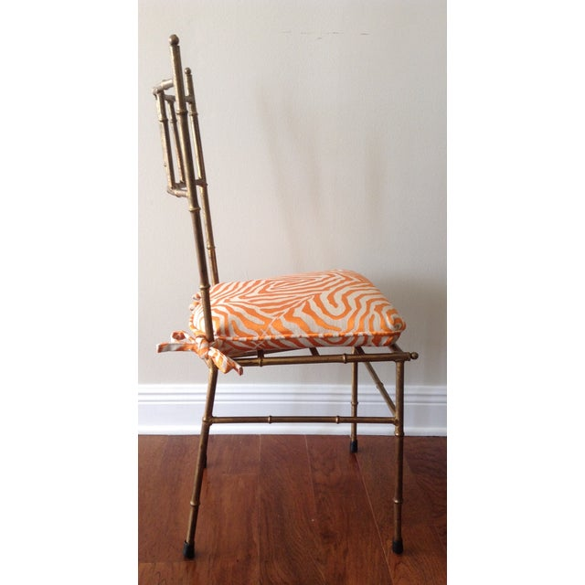 Italian Gilt Metal Faux Bamboo-Style Chair - Image 3 of 7
