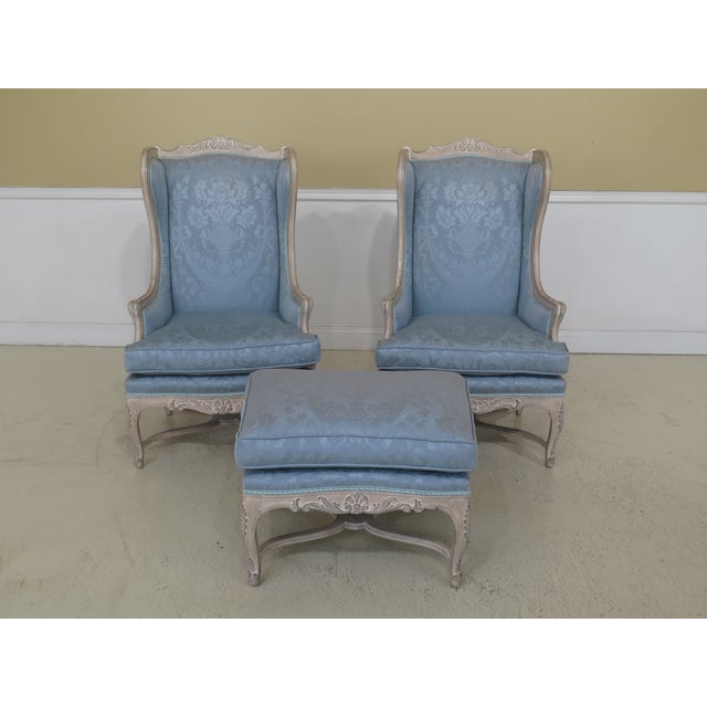 French Louis XV Style Carved Wing Chairs & Ottoman - 3 Pieces For Sale - Image 13 of 13