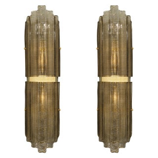 Smoked Murano Glass Ridged Sconces For Sale