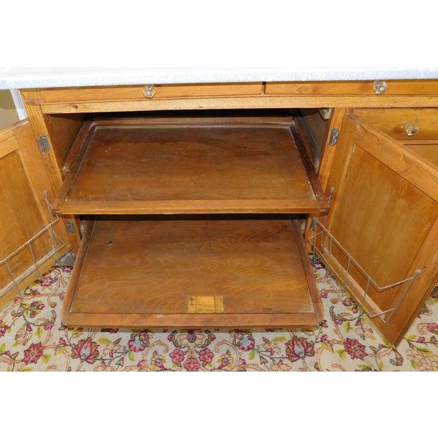 Wood Antique Oak Sellers Indiana Hoosier Cabinet C1900 For Sale - Image 7 of 11