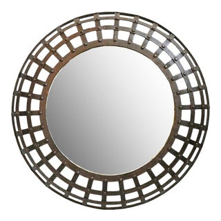 Round Iron Cage Mirror For Sale