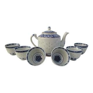 1980s Blue & Gold Japanese Tea Set - Set of 7 For Sale