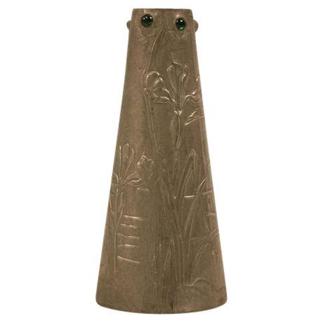 Signed French Art Nouveau Metal Vase For Sale