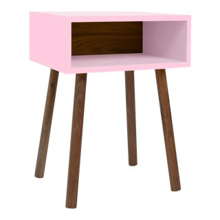 Minimo Modern Kids Nightstand in Walnut & Birch With Pink Finish For Sale