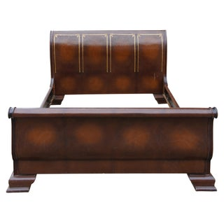 1990s Traditional Tooled Leather Mahogany Carved Sleigh Bed Preview