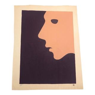 Purple & Peach Figurative Profile Minimalist Hand-Painted Serigraph 1/38 by Geoffrey Graham For Sale
