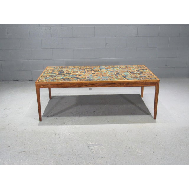 1960s Danish Modern Rosewood and Tile Coffee Table For Sale - Image 4 of 10