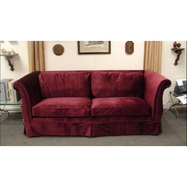 1940s Art Deco Burgundy Velvet Sofa For Sale - Image 4 of 4