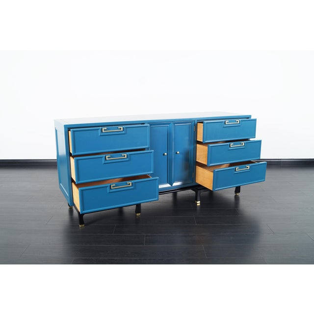Danish Modern Vintage Lacquered Dresser by American of Martinsville For Sale - Image 3 of 9