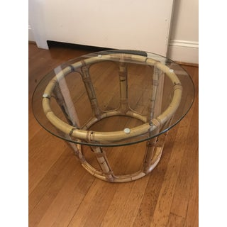 20th Century Boho Chic Bamboo and Glass Coffee Table Preview