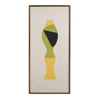 Mid-Century Modernist Woodcut by Hans Arp Poupee Sans Tete, 1964