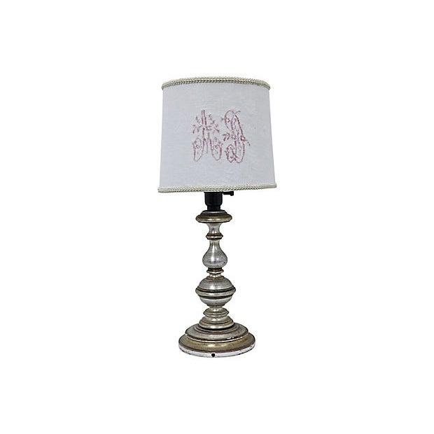 Late 19th Century Antique French Damask Lamp Shade For Sale - Image 5 of 5