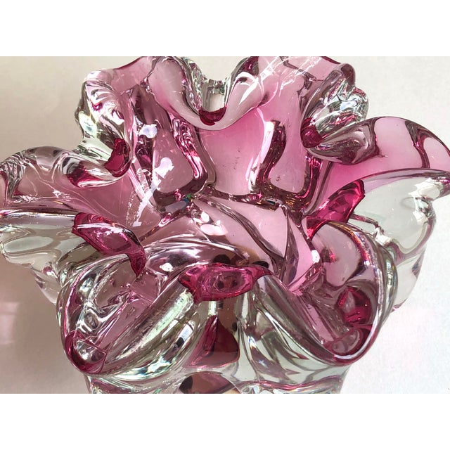 Rare and unusual Murano glass catchall in a flower form. Hot pink color and clear background. Beautiful flower shape...