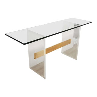 Charles Hollis-Jones Style Modern Lucite Console With Glass Top For Sale