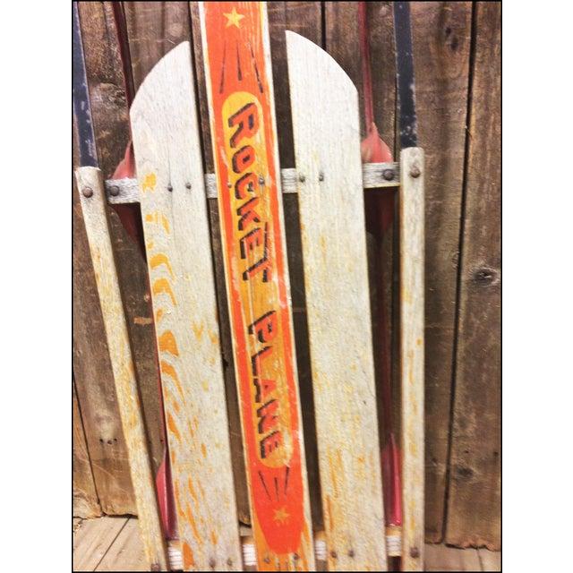 Vintage Weathered Wood & Metal Runner Sled -- Rocket Plane For Sale - Image 4 of 11