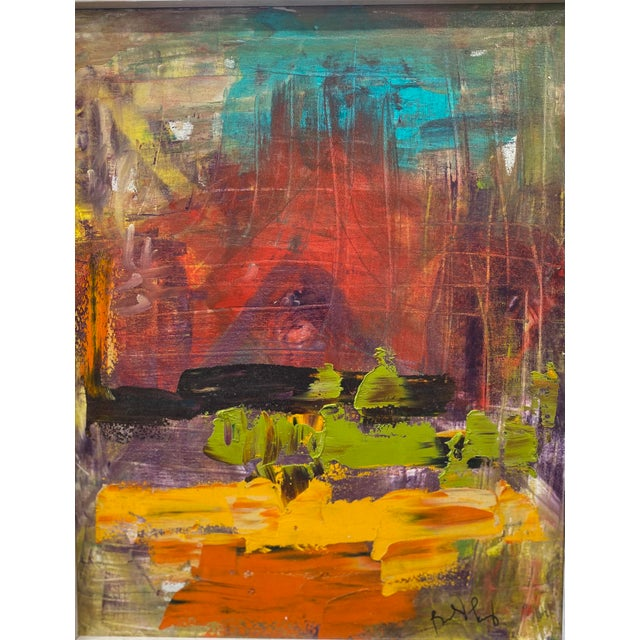 Wonderfully colorful abstract oil on Canvas signed (I cannot read name) Great color pop for that all white wall that needs...