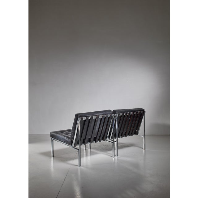 Mid-Century Modern Pair of Kurt Thut Side Chairs with Black Leather Tufted Cushions For Sale - Image 3 of 5