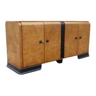 Art Deco Burl Buffet Credenza For Sale