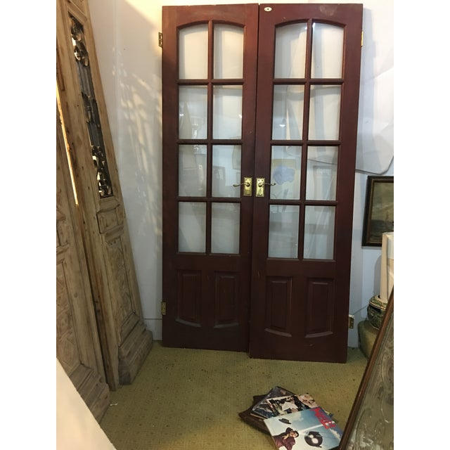 Wood English Glass Doors With Brass Hardware - A Pair For Sale - Image 7 of 7