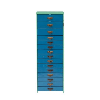 1940s Industrial Metal Slide Cabinet For Sale