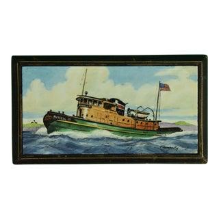 1950s Vintage Frank Vosmansky for Abercrombie & Fitch Tugboat Cigarette Box