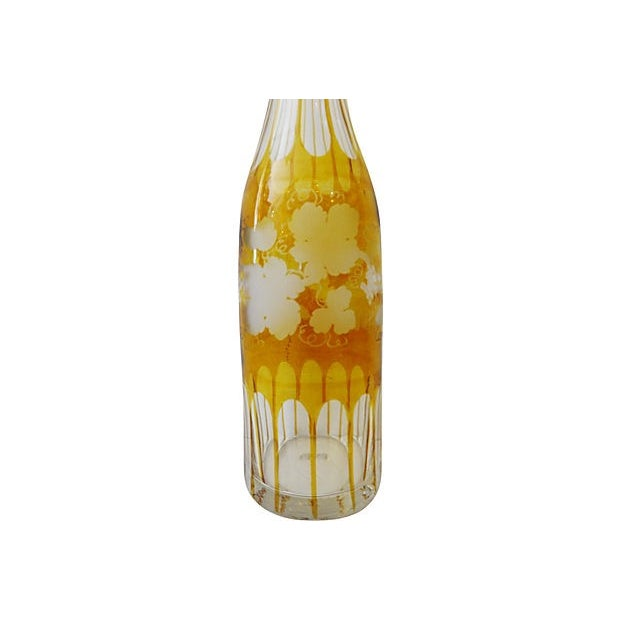 Boho Chic Bohemian Overlay Crystal Decanter For Sale - Image 3 of 7