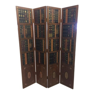 Tooled Leather and Wood Tromp l'Oeil Book Motife Screen Room Divider For Sale