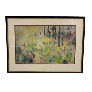 Mid-20th Century Framed Japanese Watercolor Landscape For Sale
