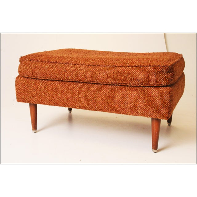 Mid-Century Modern Brown Upholstered Foot Stool - Image 2 of 11