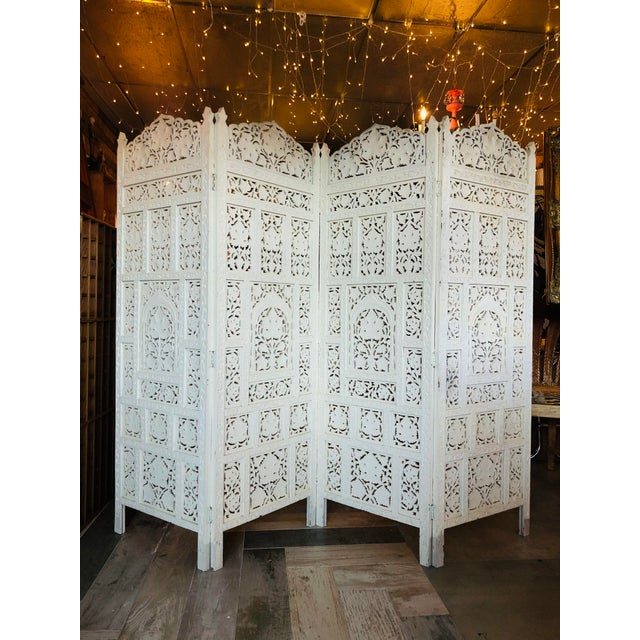 Vintage 1960's Anglo Indian Teak Wood Room Screen Room Divider For Sale - Image 10 of 10