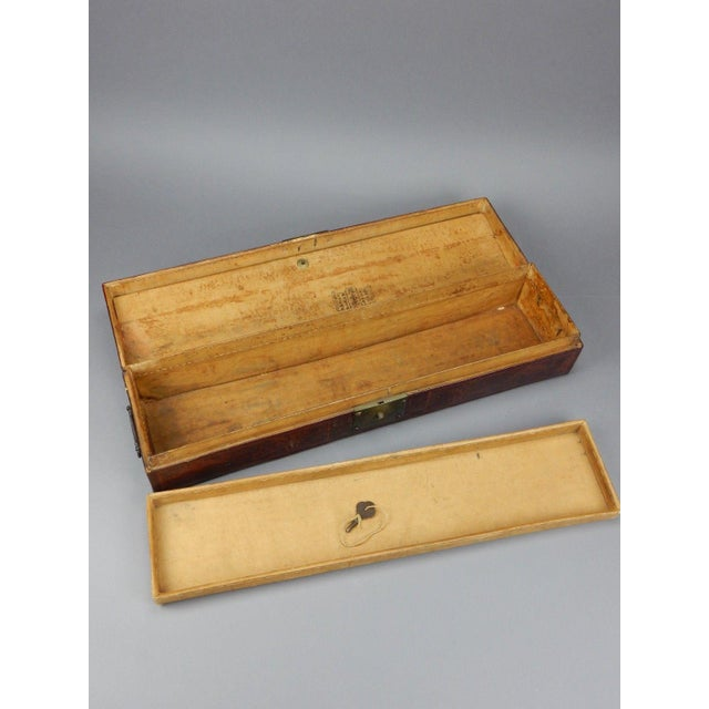 Antique Chinese Pig Skin Scroll Box With Key For Sale - Image 4 of 13