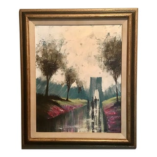 Mid Century Abstract Cityscape Oil on Canvas Painting Signed Lee Reynolds For Sale