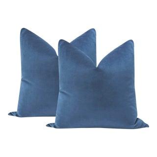 """22"""" Cadet Blue Velvet Pillows - a Pair For Sale"""