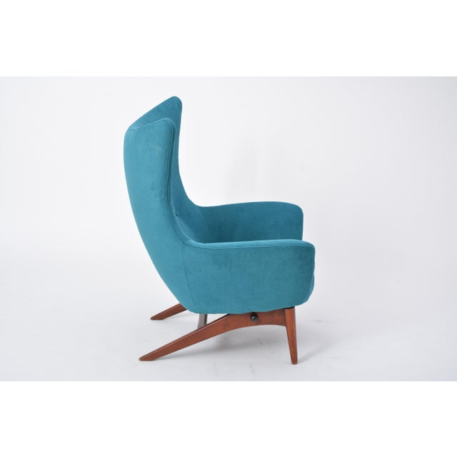 Blue Reupholstered Model 207 Reclining Lounge Chair Designed by h.w. Klein For Sale - Image 8 of 12