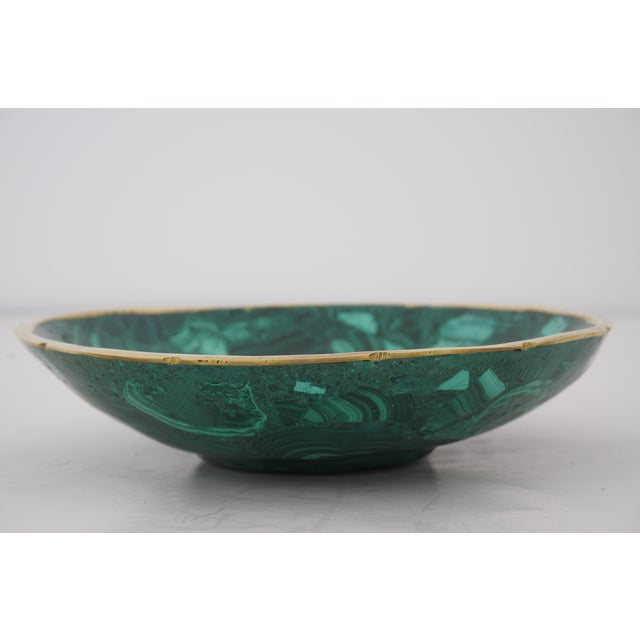 Contemporary Vintage Round Malachite Dish With Scalloped Brass Rim For Sale - Image 3 of 10