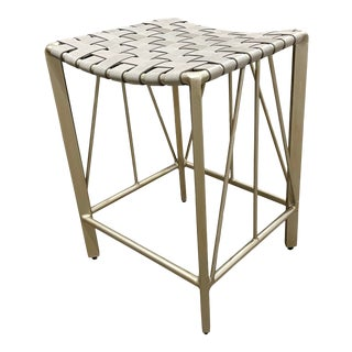Vanguard Champagne Steel and Saddle Grey Woven Leather Perla Counter Stool - 3 Avl For Sale