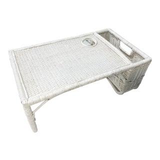 White Wicker Breakfast Tray For Sale