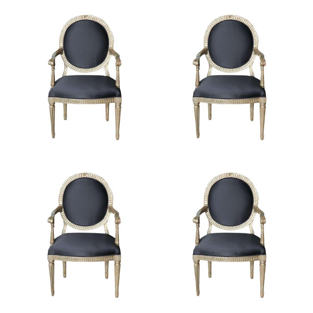 Rare Set of Four Italian Neoclassic Silver Gilt Armchairs For Sale