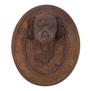 Pair of Vintage Carved Wooden Dog Head Wall Plaques For Sale