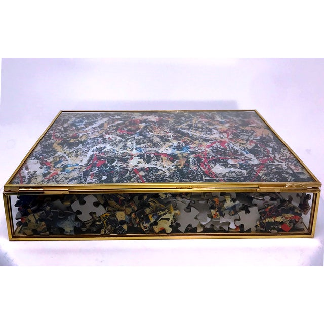 Vintage Jackson Pollock Puzzle in Glass & Brass Shadow Box For Sale In Miami - Image 6 of 8