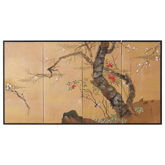 Japanese Four-Panel Screen Prunus Tree With Nandina For Sale