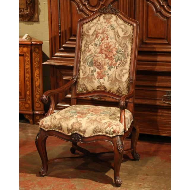 This quality dining room set of fruit wood chairs and matching armchairs was crafted in France, circa 1980. The set...