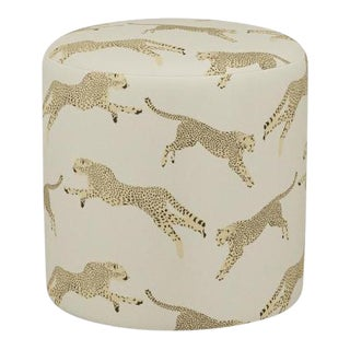 Scalamandre Drum Ottoman in Desert Cheetah For Sale