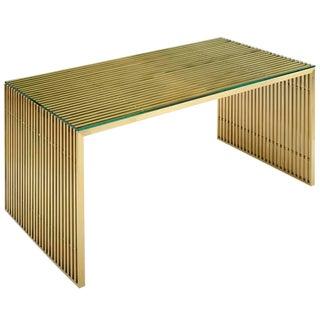 Modern Golden Steel Dining Table or Desk For Sale