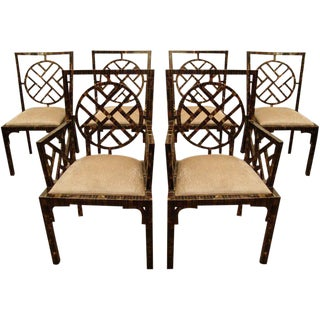 1970s Horn Patchwork Veneer Dining Chairs - Set of 6 For Sale