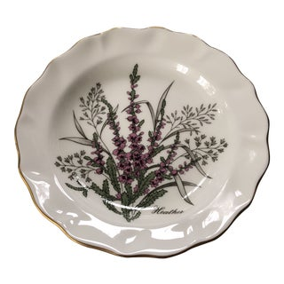 1940s Flower of Scotland St. Andrews Pottery Bone China Heather Trinket Ring Dish Tray For Sale