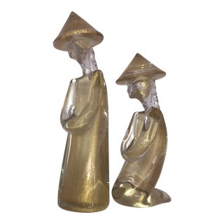 1980s Murano Seguso Asian Figurines - a Pair For Sale