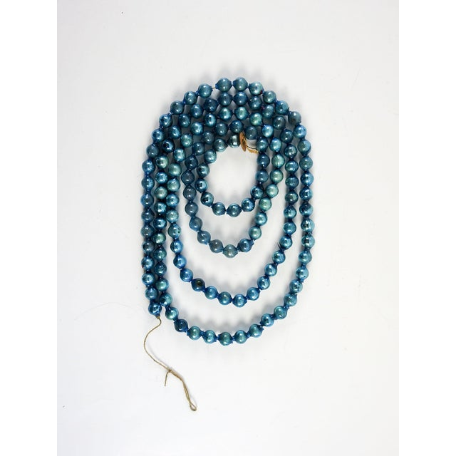 """Vintage blue glass ball Christmas garland 72"""" long, each ball 1/2"""" dia., some broken pieces, loss of color, strung on..."""
