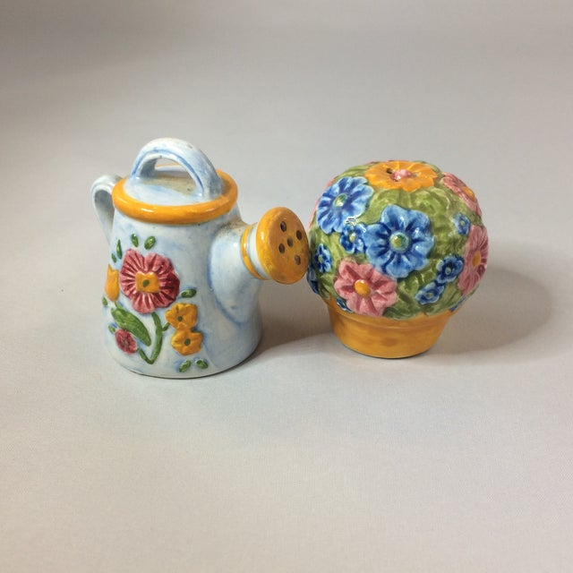 Ceramic Miniature Watering Can & Flowers Salt & Pepper Shakers - a Pair For Sale - Image 7 of 8