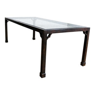 Chinoiserie Parsons Style Dining Table Faux Tortoise Shell Oil Drop Finish Glass Insert For Sale